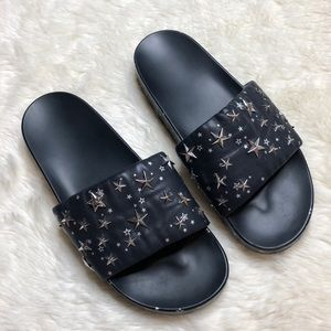 Tory Burch Navy Studded Star Slides